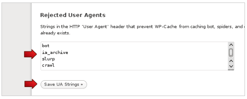 Set rjected user agents